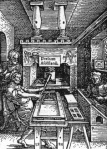 Printing press 16th C engraving