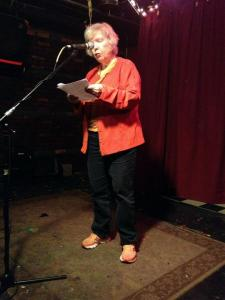 What I wore at the Katie show (though with black shoes, not my Saucony sneakers. Photo by Thom Francis at the Nitty Gritty Slam the following night