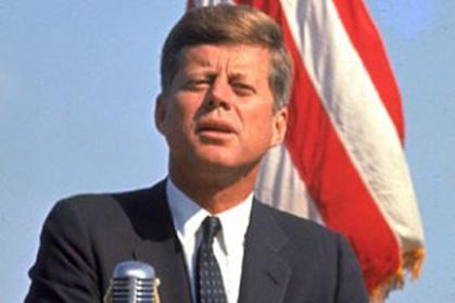Kennedy with flag