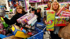 Christmas shopping-frenzy checkout