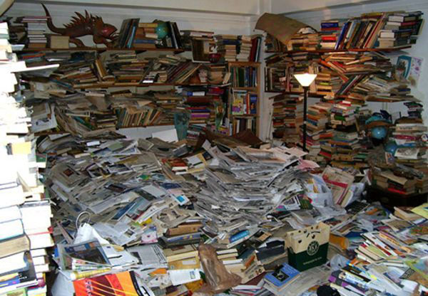 clutter books and papers