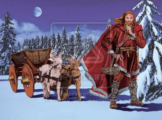 Thor_Father Christmas with goat wagon by_ronchironna