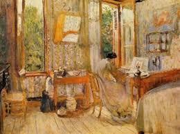 woman writing sunny room Bonnard style