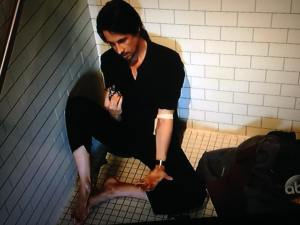 Michael Easton as Finn shooting up 4-8-16