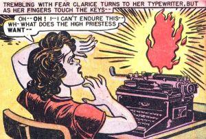 woman flaming typewriter cartoon