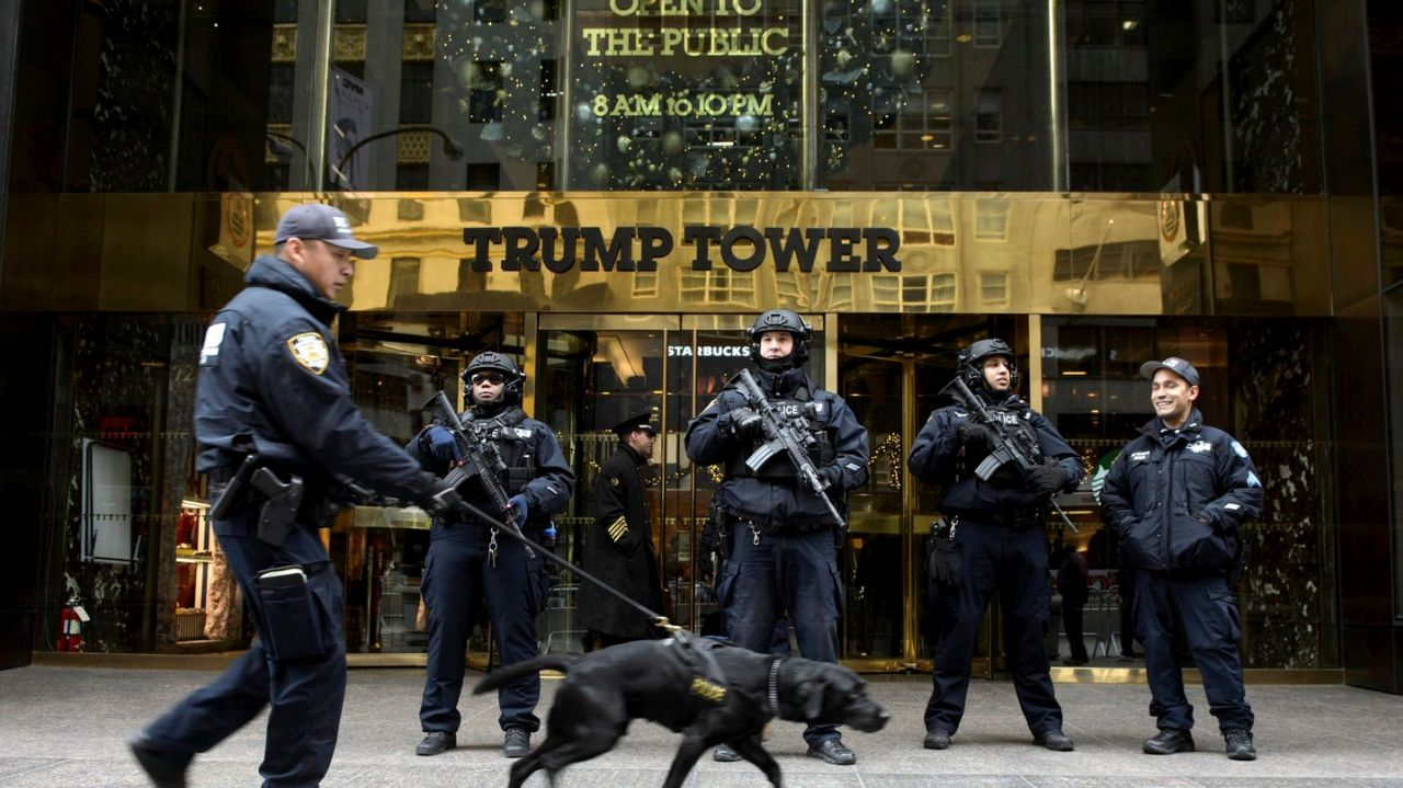 trump-tower-with-cops-and-dog
